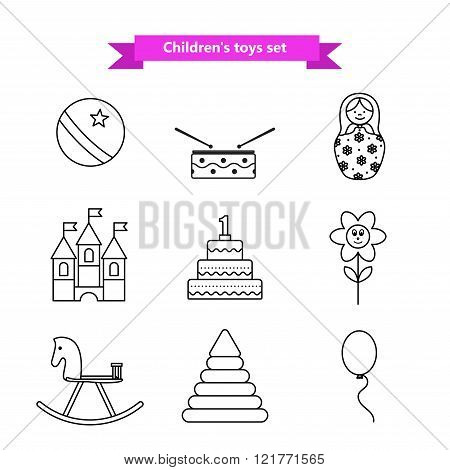 Set of vector icons of toys. Collection of toys for children. Vector illustration in a line style. V