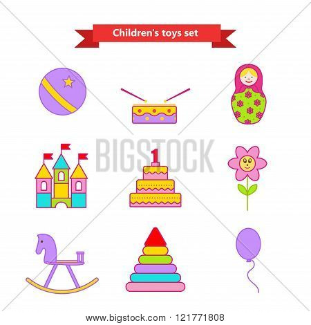 Set of vector icons of toys. Collection of toys for children. Vector illustration in a flat style. V
