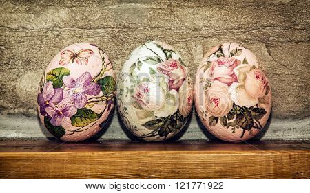Three Easter Eggs Stacked On The Wooden Base, Easter Holiday