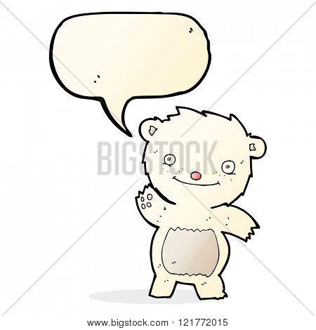 cartoon waving polar bear cub with speech bubble