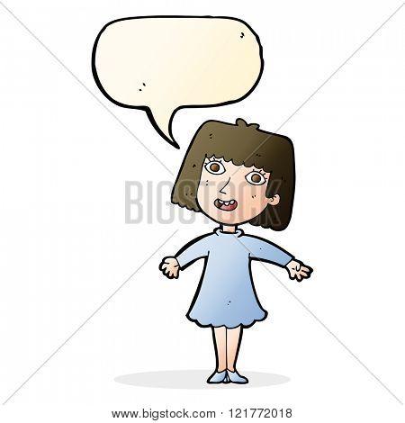 cartoon happy woman in dress with speech bubble