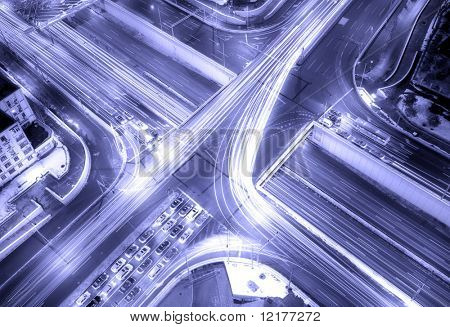A road junction at evening in changsha ,china Beijing
