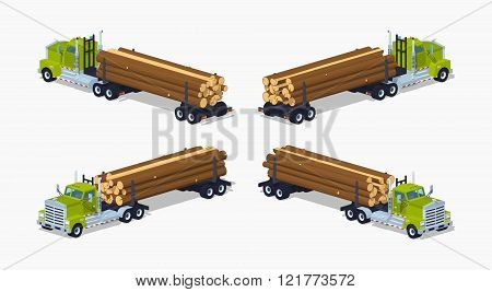 Low poly log truck with the pile of logs