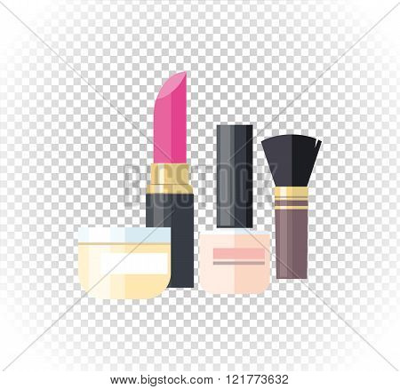 Cosmetic Lipstick Nail Isolated