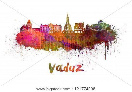 Vaduz Skyline In Watercolor
