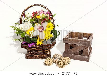 Flower bouquet composition for the holiday spring bouquet of flowers for your favorite festive bouquet of flowers for a wedding hyacinths flower Brunei Tulips Archidamus roses hrisanthemom