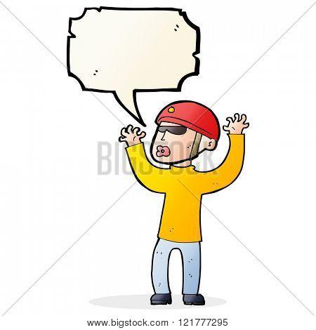 cartoon security man panicking with speech bubble