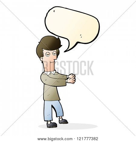 cartoon bored man showing the way with speech bubble
