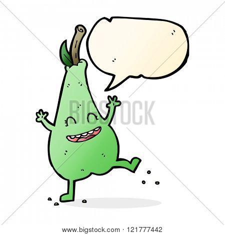 cartoon happy dancing pear with speech bubble