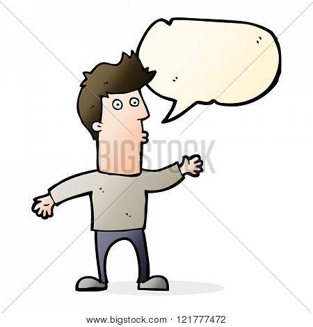cartoon surprised man with speech bubble