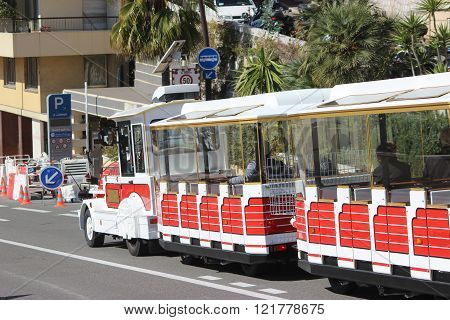 Red Trackless Train In Monte-carlo