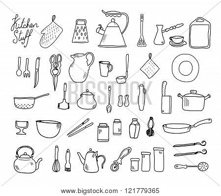 Kitchenware. Doodle set in vector isolated on a white background.