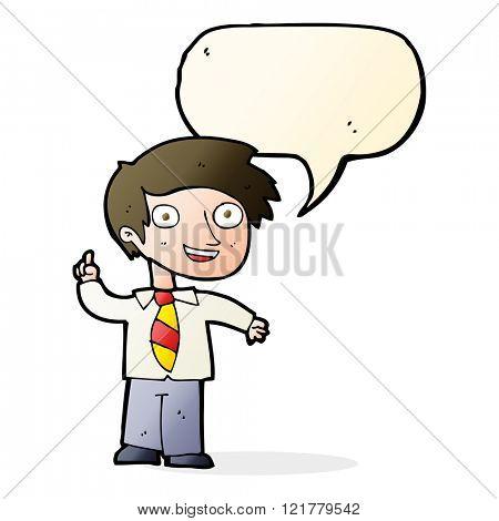 cartoon school boy with idea with speech bubble