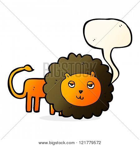 cartoon lion with speech bubble