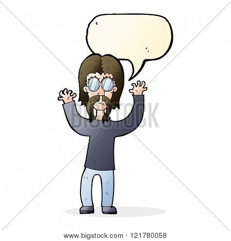 cartoon hippie man waving arms with speech bubble
