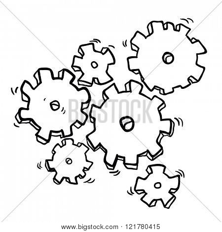 simple black and white cartoon cogs and gears
