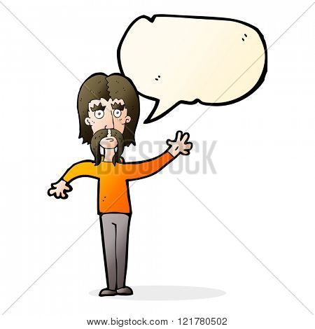 cartoon waving man with mustache with speech bubble