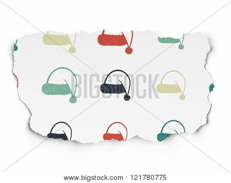 Entertainment, concept: Christmas Hat icons on Torn Paper background