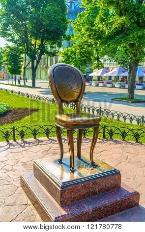 ODESSA UKRAINE - MAY 18 2015: The monument to the twelfth chair - one of the main character of the novel