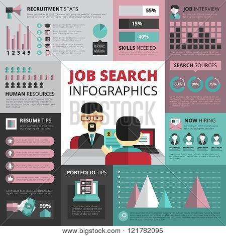 Job Search Strategy Flat Infographic Banner