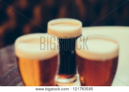 blurred image of cool drinks in cafe with bokeh