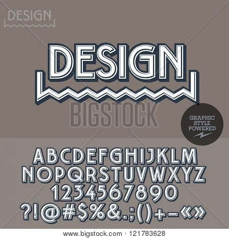 Retro styled icon for graphic designer studio. Vector set of letters, numbers and symbols.