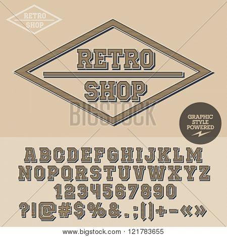 Vintage emblem for antique store. Vector set of letters, numbers and symbols.