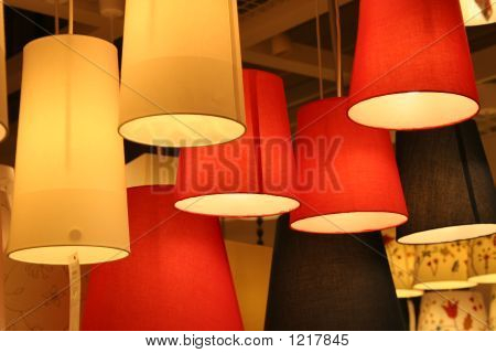 lamps are hanging in a furniture