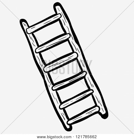 simple black and white freehand drawn cartoon ladder