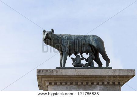 Wolf statue with Romulus and Remus, replica of the capitoline wolf a bronze iconic sculpture inspired by the legend of the founding of Rome