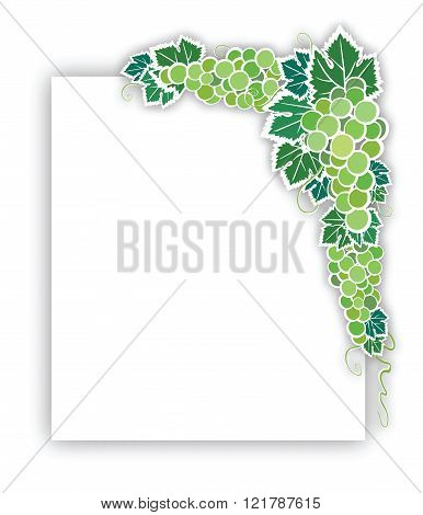Green Grapes With Leaves Applique