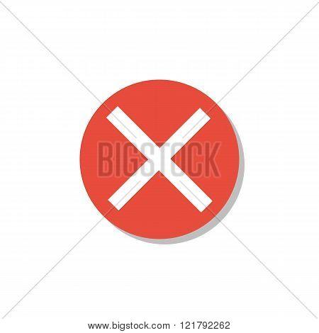 Cancel Icon, On White Background, Red Circle Border, White Outline
