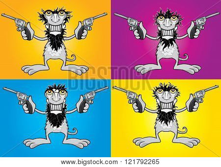 smiling cartoon gangster guy with colts illustration