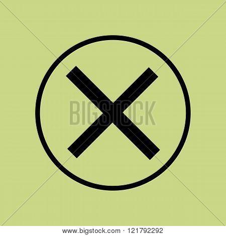 Cancel Icon, On Green Background, Circle Border, Dark Outline