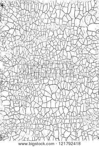Cracked Grunge Texture. Weathered Messy Background. Black And White. Vector.