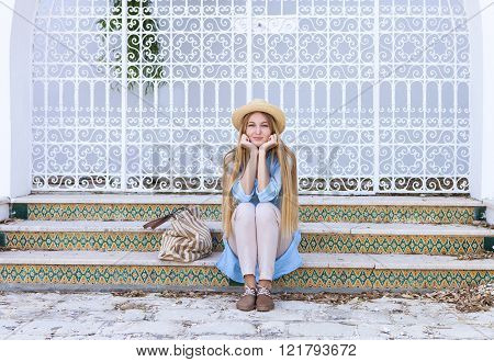 Young Blond Woman In The Street Of Tunis