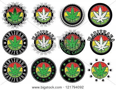 Cannabis Marijuana leaf smybol stamps vector illustration