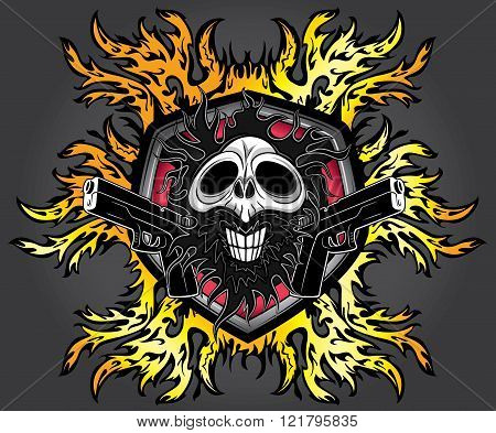 halloween skull glock pistols fire flames background