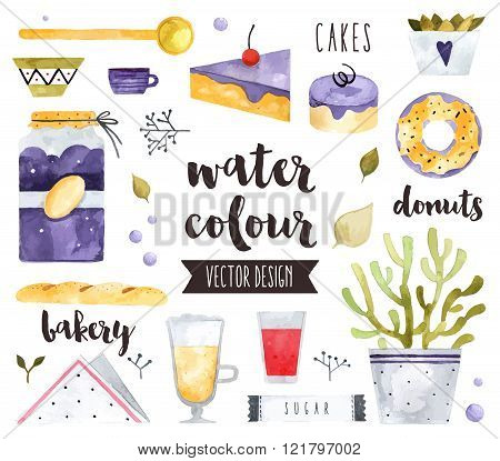 Homemade Sweets Watercolor Vector Objects