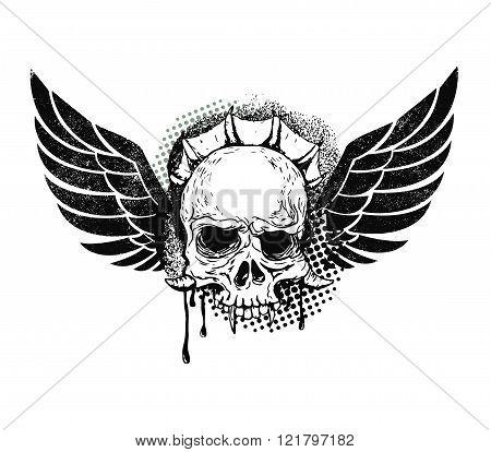 Monster Skull With Wings.