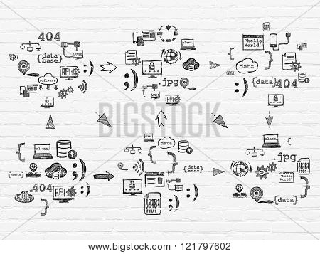 Grunge background: White Brick wall texture with  Hand Drawn Programming Icons