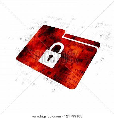 Finance concept: Folder With Lock on Digital background