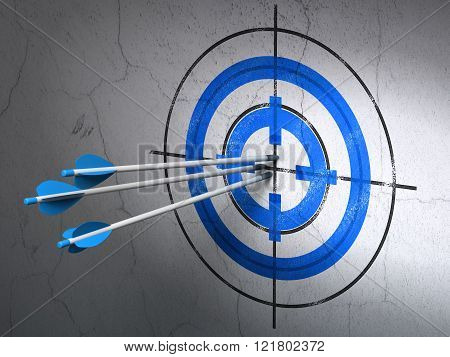 Finance concept: arrows in Target target on wall background