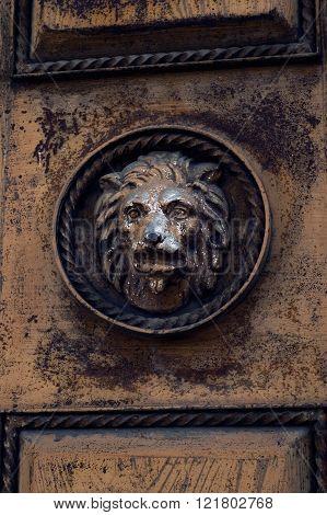 Metal lion head on door in Sukhumi, Abkhazia