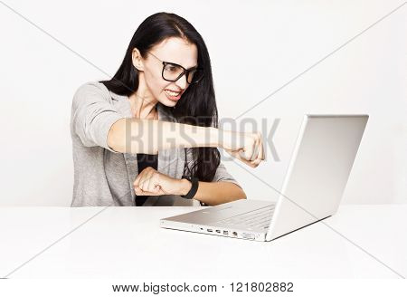 A woman angry over your computer. Problems.