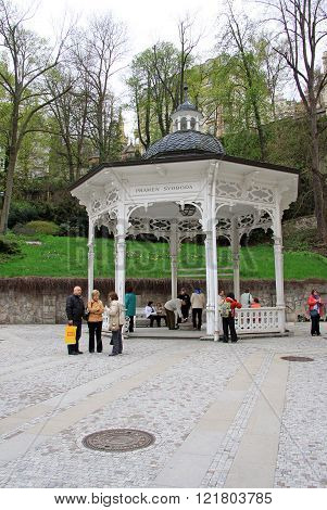 Karlovy Vary, Czech Republic - April 27, 2013: Special Construction For Spring Of Freedom In The Spa