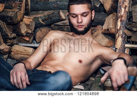 Man With Beard  Rest Near Firewood Stock