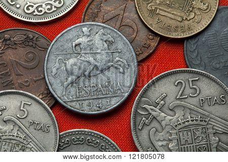 Coins of Spain under Franco. Lancer on horseback depicted in the Spanish 10 centimos coin (1941).