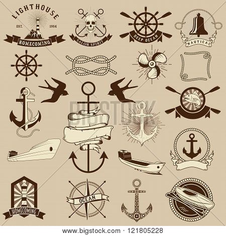 Set Of The Nautical Emblems And Design Elements.