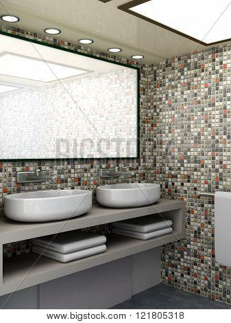3D rendered Illustration. Modern Bathroom interior visualisation.